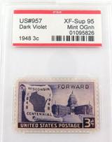 US STAMP #957 1948 3c DARK VIOLET PSE GRADED XF-SUP 95 MINT OGnh