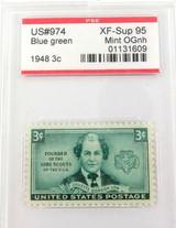 US STAMP #974 1948 3c BLUE GREEN PSE GRADED XF-SUP 95 MINT OGnh