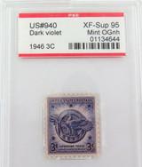 US STAMP #940 1946 3c DARK VIOLET PSE GRADED XF-SUP 95 MINT OGnh