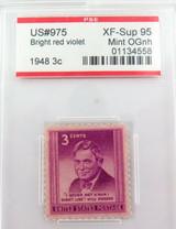 US STAMP #975 1948 3c BRIGHT RED VIOLET PSE GRADED XF-SUP 95 MINT OGnh