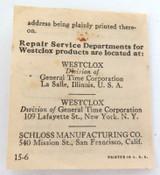 1953 WESTCLOX POCKET BEN LUMINOUS 634 POCKET WATCH STORAGE BOX & GUARANTEE.
