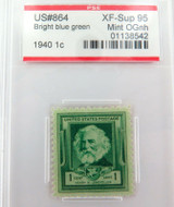 US STAMP #864 1940 1c BRIGHT BLUE GREEN PSE GRADED XF-SUP 95 MINT OGnh