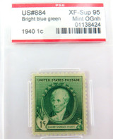 US STAMP #884 1940 1c BRIGHT BLUE GREEN PSE GRADED XF-SUP 95 MINT OGnh