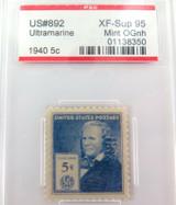 US STAMP #892 1940 5c ULTRAMARINE PSE GRADED XF-SUP 95 MINT OGnh