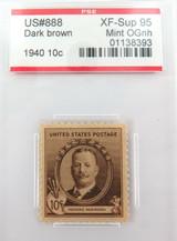 US STAMP #888 1940 10c DARK BROWN PSE GRADED XF-SUP 95 MINT OGnh