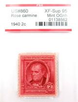 US STAMP #860 1940 2c ROSE CARMINE PSE GRADED XF-SUP 95 MINT OGnh