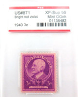 US STAMP #871 1940 3c BRIGHT RED VOILET PSE GRADED XF-SUP 95 MINT OGnh