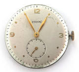 VINTAGE ZODIAC 17J MENS WATCH MOVEMENT & DIAL. WORKING.