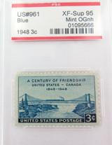 US STAMP #961 1948 3c BLUE PSE GRADED XF-SUP 95 MINT OGnh