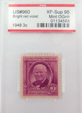 US STAMP #960 1948 3c BRIGHT RED VIOLET PSE GRADED XF-SUP 95 MINT OGnh