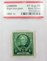 US STAMP #869 1940 1c BRIGHT BLUE GREEN PSE GRADED XF-SUP 95 MINT OGnh