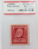 US STAMP #865 1940 2c ROSE CARMINE PSE GRADED XF-SUP 95 MINT OGnh