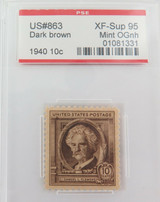 US STAMP #863 1940 10c DARK BROWN PSE GRADED XF-SUP 95 MINT OGnh