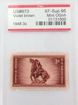 US STAMP #973 1948 3c VIOLET BROWN PSE GRADED XF-SUP 95 MINT OGnh