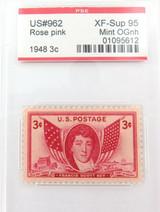US STAMP #962 1948 3c ROSE PINK PSE GRADED XF-SUP 95 MINT OGnh