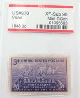 US STAMP #970 1948 3c VIOLET PSE GRADED XF-SUP 95 MINT OGnh