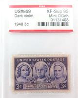 US STAMP #959 1948 3c DARK VIOLET PSE GRADED XF-SUP 95 MINT OGnh