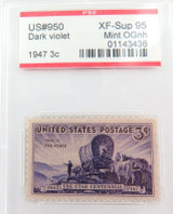 US STAMP #950 1947 3c DARK VIOLET PSE GRADED XF-SUP 95 MINT OGnh