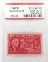 US STAMP #931 1945 2c CARMINE ROSE PSE GRADED XF-SUP 95 MINT OGnh