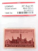 US STAMP #943 1946 3c VIOLET BROWN PSE GRADED XF-SUP 95 MINT OGnh