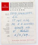 1969 OMEGA REF. ST 145.012 INTERNATIONAL GUARANTEE.