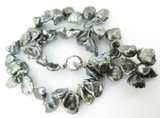 A Quality 11mm-16mm Tahitian Keshi Pearl Necklace 14K Diamond Clasp Val $8735