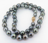 A Quality 10.5mm - 8.0mm Tahitian Cultured Pearl Graduated Necklace Val $5300