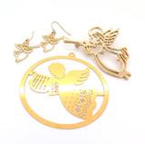 Vintage Gold Tone Angel Blowing Trumpet Brooch & Earring Set + Tree Decoration