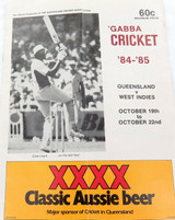 1984 - 1985 CRICKET PROGRAMME QLD v WEST INDIES, THE GABBA.