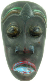 VINTAGE TIBETAN HANPAINTED CARVED WOODEN MASK