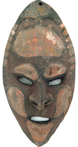VINTAGE SMALL PNG CARVED WOODEN MASK, ORIGINAL PIGMENT.