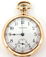 1904 LADY WALTHAM 0S 16J POCKET WATCH WITH 14K GOLD  CASE