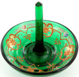 SUPERB EDWARDIAN ERA GREEN GLASS HANDPAINTED RING STAND.