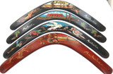 SUPERB SET of 4 VINTAGE AUSTRALIAN HANDPAINTED SOUVENIR WOODEN BOOMERANGS.