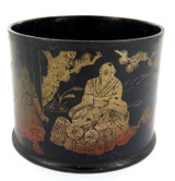 1800s / 1900s ORIENTAL PAPER MACHE CONTAINER TRADITIONAL ILLUSTRATED GOLD SCENES