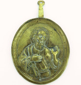 1800s TINPLATE St. PETER HOLDING THE KEYS TO HEAVEN ICON WALL HANGER. #1