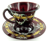 ANTIQUE / EXQUISITE / STUNNING HANDPAINTED VENETIAN GLASS CUP & SAUCER SET. #1