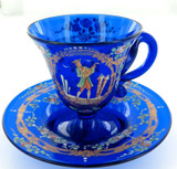 ANTIQUE / EXQUISITE / STUNNING HANDPAINTED VENETIAN GLASS CUP & SAUCER SET. #2