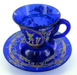 ANTIQUE / EXQUISITE / STUNNING HANDPAINTED VENETIAN GLASS CUP & SAUCER SET. #2
