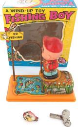 "VINTAGE YONE JAPANESE TINPLATE ""FISHING BOY"" WINDUP TOY + BOX + FISH + KEY."