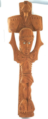RARE UNUSUAL LARGE PACIFIC ISLANDS CARVED WOODEN ICON. CHRISTS CRUCIFIXION