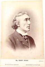 1800s SIR HENRY IRVING 1838-1905 POSED STUDIO PHOTOGRAPH. WINDOW & GROVE, UK