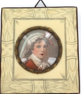 QUALITY 1800s HANDPAINTED WATERCOLOUR MINIATURE FRAMED PORTRAIT of a YOUNG WOMAN