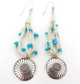 Vibrant Sterling Silver & Turquoise Chip Dangle Earrings Length 84.6cm
