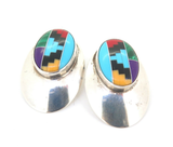 Dramatic Navajo Sterling Silver & Multi-coloured Gemstone Earring Studs 6.7g