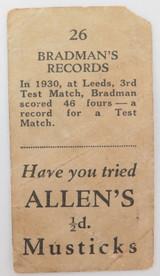 "c1932 SUPER RARE BRADMAN'S RECORDS ""ALLEN'S 1/2d MUSTICKS"" CARD."