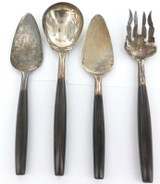 VINTAGE QUALITY RETRO 800 SILVER HORN HANDLES SALAD SERVING SET & 2 CAKE LIFTERS