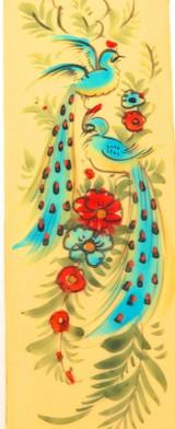 SUPERB VINTAGE ORIENTAL HANDPAINTED BIRD & FLORAL SCENE ON CELLULOID / BAKELITE
