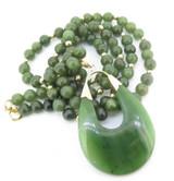 Vintage Nephrite Jade Necklace & Drop Pendant 14K Yellow Gold Val $2480