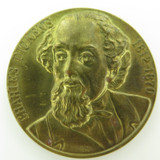 VINTAGE CHARLES DICKENS 1812 - 1870 COMMEMORATIVE MEDALLION IN HIGH RELIEF.